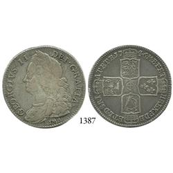 London, England, half crown, George II, with LIMA below bust, 1746.