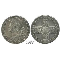 London, England, shilling, George II, with LIMA below bust, 1745.