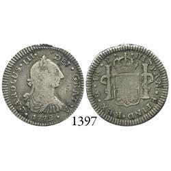 Guatemala City, Guatemala, bust 1 real, Charles III, 1772P.