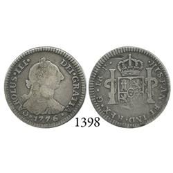 Guatemala City, Guatemala, bust 1 real, Charles III, 1776P, desirable date.