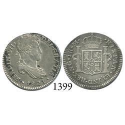 Guatemala City, Guatemala, bust 1 real, Ferdinand VII, 1821M.