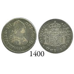 Guatemala City, Guatemala, bust 1/2 real, Ferdinand VII, 1810M.