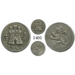 Guatemala City, Guatemala, 1/4 real, Charles IV, 1796.