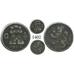 Guatemala City, Guatemala, 1/4 real, Charles IV, 1798.