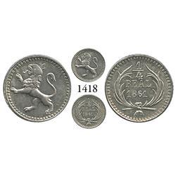Guatemala City, Guatemala, 1/4 real, 1861.
