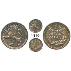 Guatemala City, Guatemala, 1/4 real, 1862.
