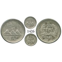 Guatemala City, Guatemala, 1/4 real, 1889/89, G below mountains.