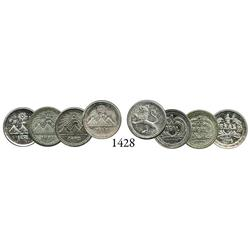 Lot of 4 Guatemala City, Guatemala, 1/4 reales, 1878, 1881, 1882 and 1888, some with doubled dates.