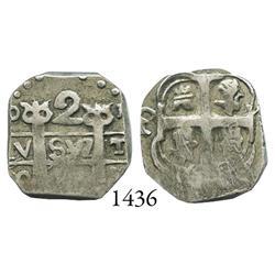 """Tegucigalpa, Honduras, """"imitation cob"""" 2 reales, (1823)P-Y."""