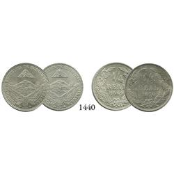 Lot of 2 Honduras copper-nickel 1/4 reales, 1869A and 1870A.