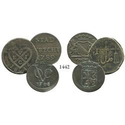 Lot of three East India Co. coppers: Dutch East India Co. duit 1746; Dutch East India Co. duit 1794;