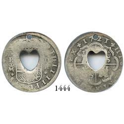 "Martinique, 2 bits, heart-shaped center-cut hole (1761) in a Madrid, Spain, milled 2 reales ""pistare"
