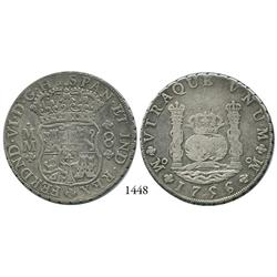 Mexico City, Mexico, pillar 8 reales, Ferdinand VI, 1756/5MM.