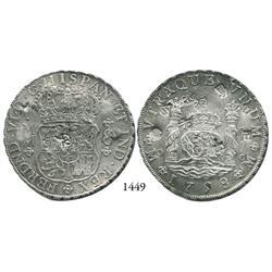 Mexico City, Mexico, pillar 8 reales, Ferdinand VI, 1758MM, with chopmarks.