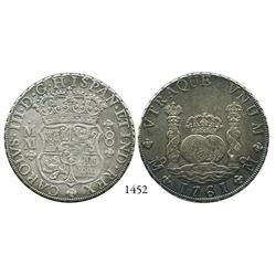 Mexico City, Mexico, pillar 8 reales, Charles III, 1761MM.