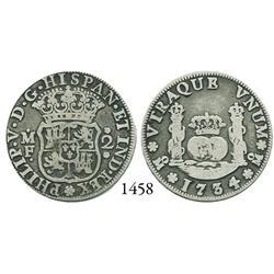 Mexico City, Mexico, pillar 2 reales, Philip V, 1734/3MF.