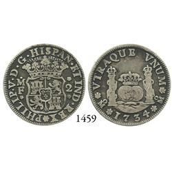 Mexico City, Mexico, pillar 2 reales, Philip V, 1734MF.