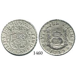 Mexico City, Mexico, pillar 2 reales, Philip V, 1739MF.