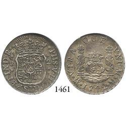 Mexico City, Mexico, pillar 2 reales, Philip V, 1742M, encapsulated NGC MS-62.