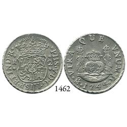 Mexico City, Mexico, pillar 2 reales, Philip V, 1744/3M.
