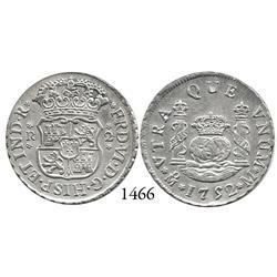 Mexico City, Mexico, pillar 2 reales, Ferdinand VI, 1752M.