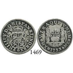 Mexico City, Mexico, pillar 1 real, Philip V, 1733MF, mintmark MX, rare.