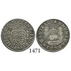 Mexico City, Mexico, pillar 1 real, Philip V, 1734/3MF.