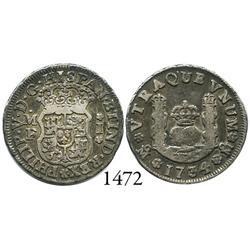 Mexico City, Mexico, pillar 1 real, Philip V, 1734MF.