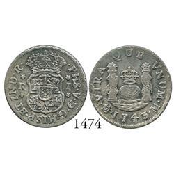 Mexico City, Mexico, pillar 1 real, Philip V, 1743/2M, rare overdate.