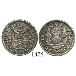 Mexico City, Mexico, pillar 1 real, Ferdinand VI, 1747M, re-punched 4.