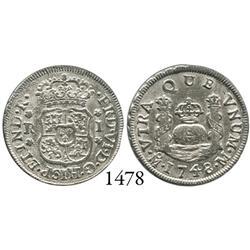 Mexico City, Mexico, pillar 1 real, Ferdinand VI, 1748M.