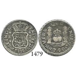 Mexico City, Mexico, pillar 1 real, Ferdinand VI, 1750/49M, rare overdate.