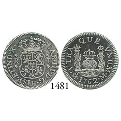 Mexico City, Mexico, pillar 1 real, Charles III, 1762M, rare variant with cinquefoil ornaments.
