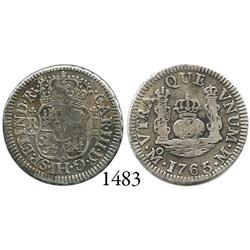 Mexico City, Mexico, pillar 1 real, Charles III, 1765/3M, unlisted.