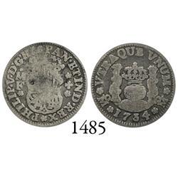 Mexico City, Mexico, pillar 1/2 real, Philip V, 1734MF, cinquefoil below assayers' initials, rare.
