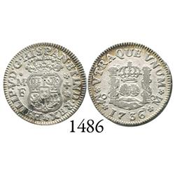 Mexico City, Mexico, pillar 1/2 real, Philip V, 1736MF.