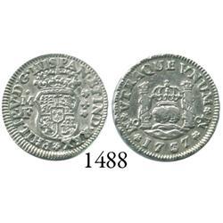 Mexico City, Mexico, pillar 1/2 real, Philip V, 1737MF.
