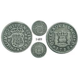 Mexico City, Mexico, pillar 1/2 real, Philip V, 1738/7MF.