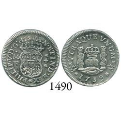 Mexico City, Mexico, pillar 1/2 real, Philip V, 1739MF.