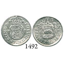 Mexico City, Mexico, pillar 1/2 real, Philip V, 1742M.