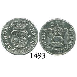 Mexico City, Mexico, pillar 1/2 real, Philip V, 1747M.