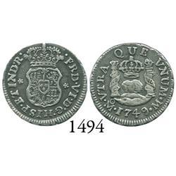 Mexico City, Mexico, pillar 1/2 real, Ferdinand VI, 1749M.