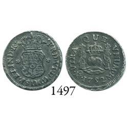 Mexico City, Mexico, pillar 1/2 real, Ferdinand VI, 1752M.