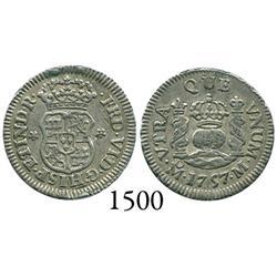 Mexico City, Mexico, pillar 1/2 real, Ferdinand VI, 1757M, dissimilar crowns.
