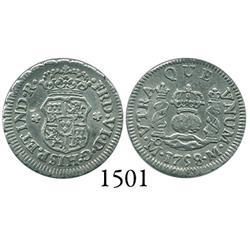 Mexico City, Mexico, pillar 1/2 real, Ferdinand VI, 1758M, dissimilar crowns.