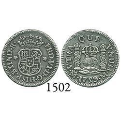 Mexico City, Mexico, pillar 1/2 real, Ferdinand VI, 1759M.