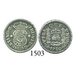 Mexico City, Mexico, pillar 1/2 real, Ferdinand VI, 1760M, scarce.