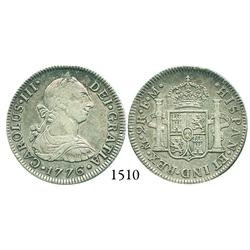 Mexico City, Mexico, bust 2 reales, Charles III, 1776FM, desirable date.