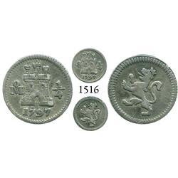 Mexico City, Mexico, 1/4 real, Charles IV, 1797.