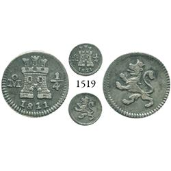 Mexico City, Mexico, 1/4 real, Ferdinand VII, 1811.